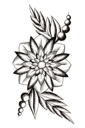 Black tattoo flower with leaves and buds on white background