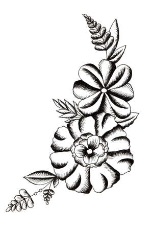 Black and white branch of flowers in tattoo style