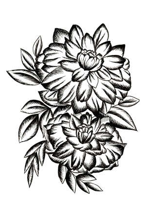 Black tattoo with flowers and leaves 版權商用圖片 - 131688721