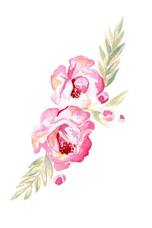 Watercolor pink flowers with green leaves and buds on white background. Stock Photo