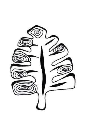 Black and White leaf. Hand drawn illustration. Tattoo style
