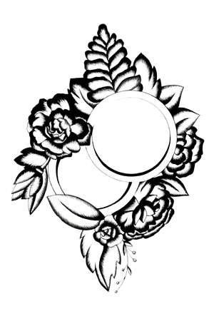 Black and white floral doodle frame. Hand drawn illustration with flowers and leaves. For cards, weddings, celebrates, tattoos, Standard-Bild - 133503366