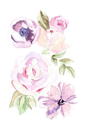 Watercolor hand drawn illustration with pink flowers and green leaves. For cards, clothing, wedding, celebrates, tattoos