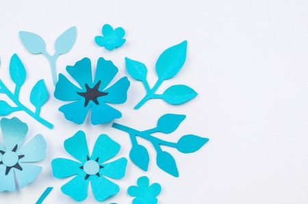 Flower and leaf of blue color made of paper handwork favorite flower and leaf of blue color made of paper handwork favorite hobby white mightylinksfo