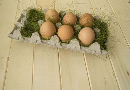 Spring. Easter. Easter egg in a container for egg. Brown egg in green grass. Curly egg. Wooden background. 版權商用圖片
