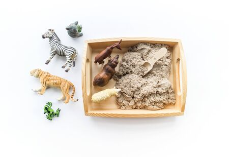 Montessori material. Children's hands play an animal figure. Kinetic sand in the sandbox. Sensory development. Banque d'images