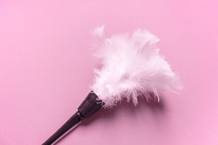 Erotic feathers. Tickling body sensation. Role-playing maid costume. White feathers pink background. Archivio Fotografico