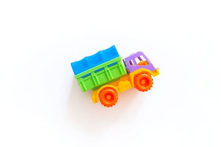 Toy plastic car. Boy game Bright color. Isolated Horizontal Montessori system.