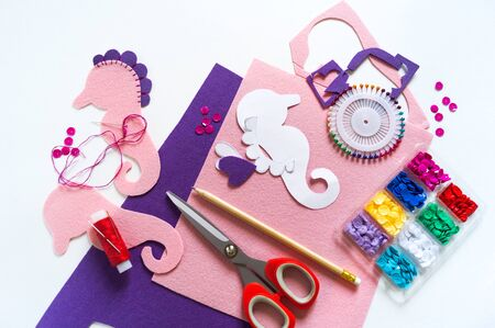 Sew a toy from felt master class. Seahorse is soft. Marine life. Craft and tool for creativity.