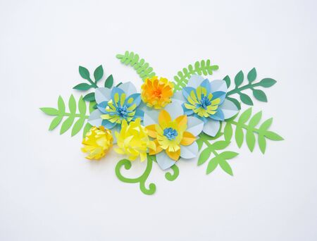 Flowers made of paper. White background. Easter composition. Holiday Gift Banner