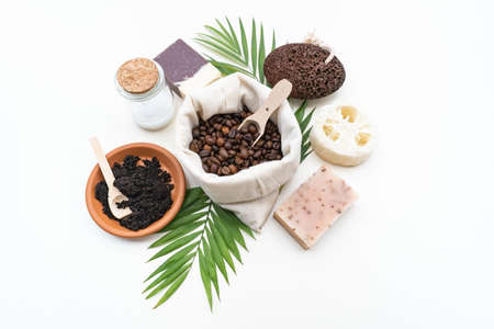 Zero waste, eco friendly Natural cosmetic product for cleaning and care. Ingredients DIY Flat lay Life without plastic.