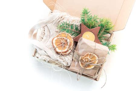 Christmas present in box on white Reklamní fotografie - 157274305