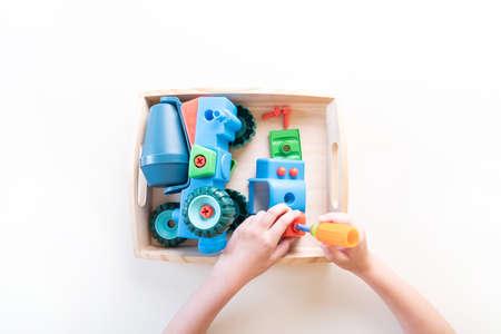 Montessori material car on white 版權商用圖片