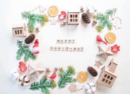 Christmas frame set on white Reklamní fotografie - 157274301