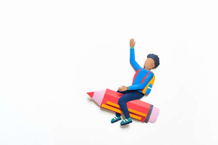 African American student flying on a pencil Paper crafrt. Education concept. White background. 版權商用圖片
