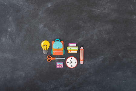 paper craft. Back to school education. Business startup concept. Paper creativity Black chalkboard background