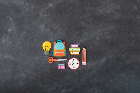paper craft. Back to school education. Business startup concept. Paper creativity Black chalkboard background Reklamní fotografie - 161459541