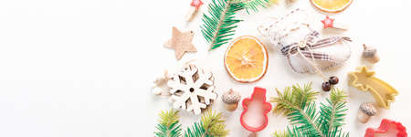 Eco Christmas concept. Zero waste holiday. Decor form Christmas tree. Copy space banner Reklamní fotografie