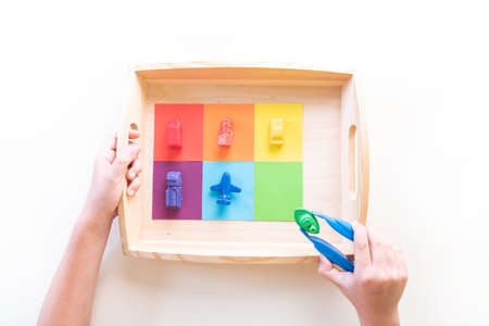 Montessori material sorting by color. Education at home. Lesson with children. White background.