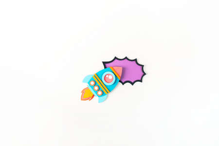Rocket paper craft. Back to school education. Business start up concept. Paper creativity