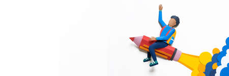 African American student flying on a pencil Paper crafrt. Education concept. White background. Banner Copy space Reklamní fotografie