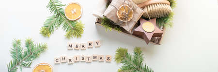Christmas gift set. Eco friendly material. Zero waste. Wooden letters. Banner