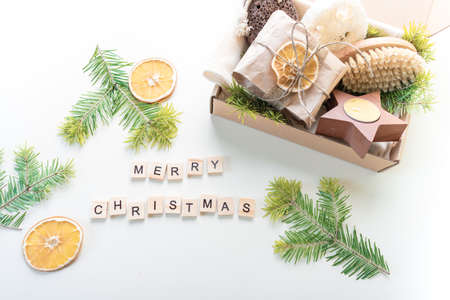 Christmas gift set. Eco friendly material. Zero waste. Wooden letters. Copy space