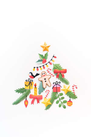 Paper art Christmas concept. Craft diy holiday. Decor form Christmas tree. Copy space vertical