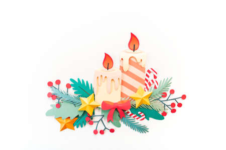 Paper art Christmas concept. Craft diy holiday. Decor Candle form Christmas tree. Copy space Reklamní fotografie