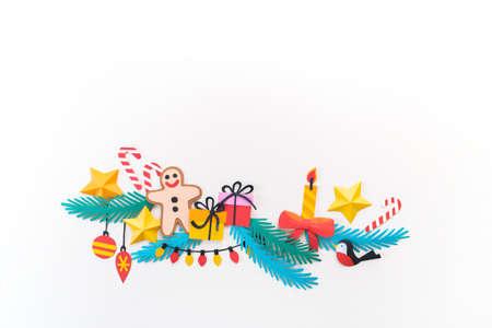 Paper art Christmas concept. Craft diy holiday. Decor form Christmas tree. Copy space