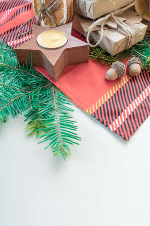 Gift wrapping Zero waste concept. Eco friendly Christmas cage napkin. Vertical