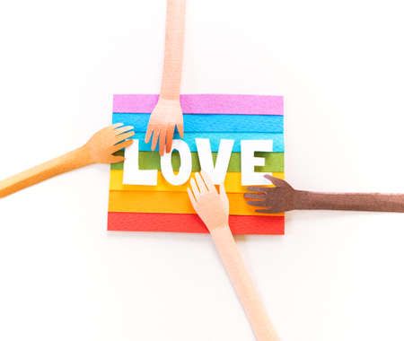 Rainbow flag paper craft. LGBT people parade concept Copy cpace