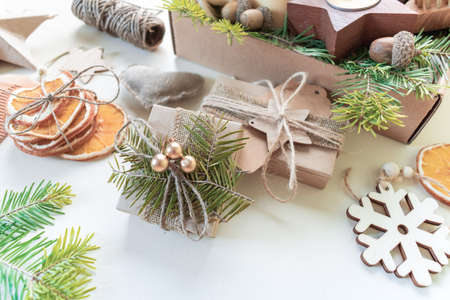 Christmas set. Zero waste concept. White background. Eco-friendly gift. Party packaging Reklamní fotografie