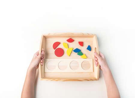 Montessori material on white