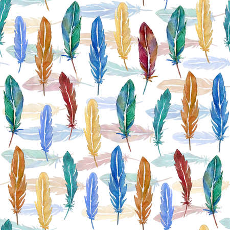 Seamless pattern of bright feathers painted in watercolor on a white background Imagens