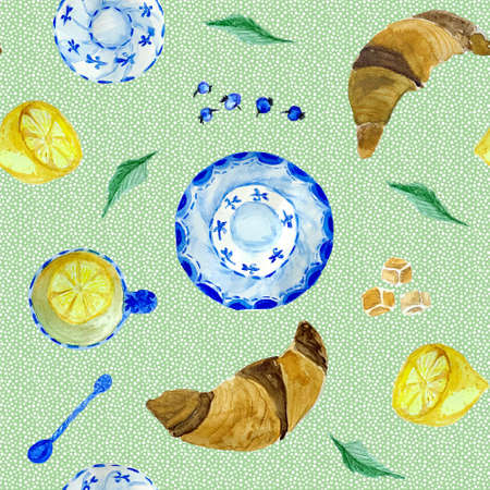 Tea time seamless pattern with croissant, lemon and blueberry. Good for menu and cafe design.