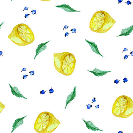 Tea time seamless pattern with mint, lemon and blueberry. Good for menu and cafe design. Reklamní fotografie