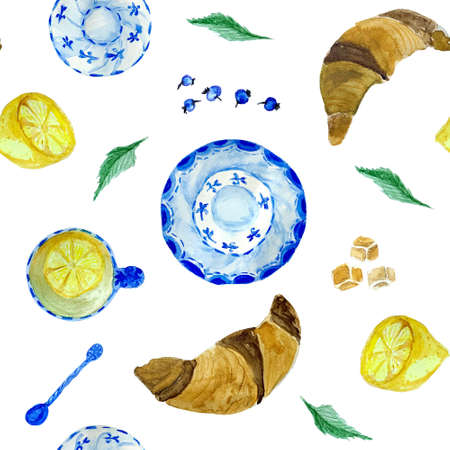 Tea time seamless pattern with croissant, lemon and blueberry. Good for menu and cafe design. Banque d'images - 122250901
