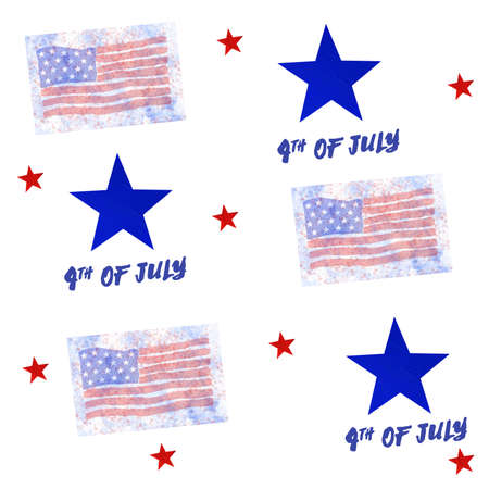 4th of July, American Independence Day. Seamless pattern in national flag colors