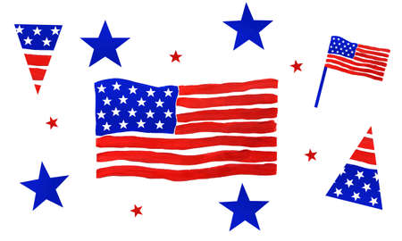 4th of July, American Independence Day. Set of elements in national flag colors Stock Photo