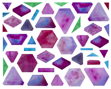 Watercolor set with geometric shapes. Bright purple shades