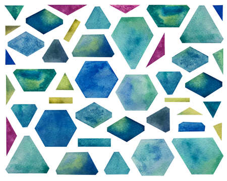 Watercolor set with geometric shapes. Bright blue shades