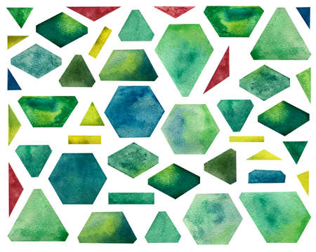 Watercolor set with geometric shapes. Bright green shades