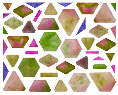 Watercolor set with geometric shapes. Bright pink shades