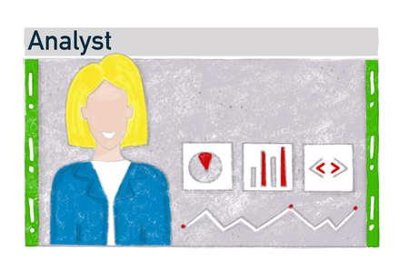 Job search, job analyst, vacancy banner illustration