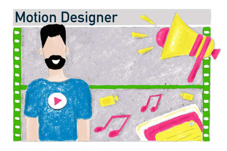 Vacancy motion designer, job search, banner illustration