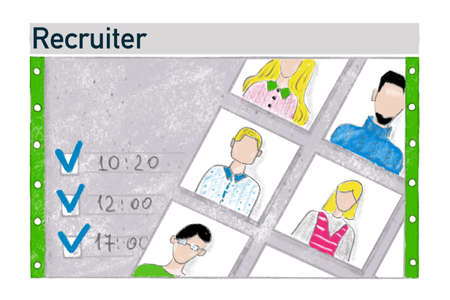 Vacancy recruiter job, job search, banner illustration