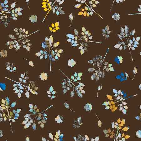 Autumn seamless pattern with rosehip, roses and branches on brown background