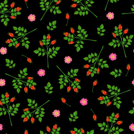 Seamless pattern with rose hip, roses and green branches on black background