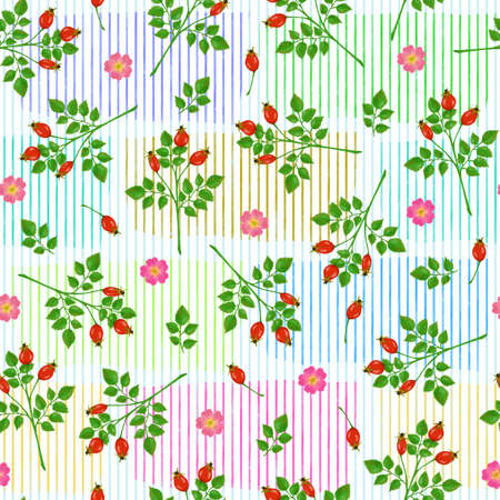 Seamless pattern with rosehip, roses and green branches on a bright colorful background